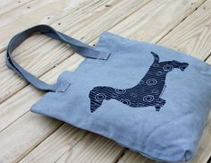 Dotty Doxie Dachshund Tote Bag, Original Art, Hand-dyed on Etsy, $24.00