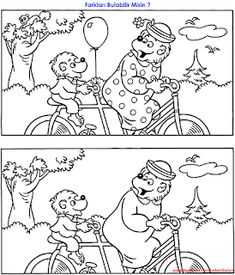Set of free worksheets for children - find 5 differences between two pictures with bears. Find more educational pictures for kids. Kindergarten Drawing, Kindergarten Math Worksheets, Kindergarten Worksheets, Visual Perceptual Activities, Preschool Activities, Find The Difference Pictures, Hidden Picture Puzzles, Scrapbook Cover, Hidden Pictures