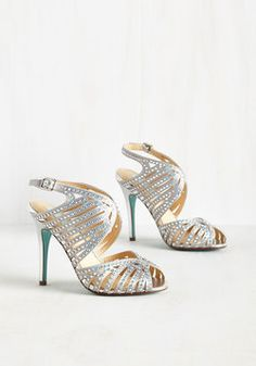 Dream a Little Gleam of Me Heel. Stars shining bright above you, and your slow dance shimmers as these silver pumps by Betsey Johnson reflect each twinkle. #white #prom #wedding #bride #modcloth