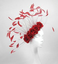 Red Fascinator Hat for Weddings Races and by Hatsbycressida