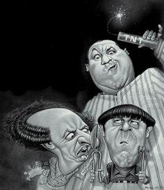Caricatures│Caricaturas - The Three Stooges. Cartoon Faces, Funny Faces, Cartoon Art, Caricature Artist, Caricature Drawing, Funny Caricatures, Celebrity Caricatures, Create A Comic, The Three Stooges