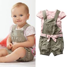 Retail 2016 Baby Girls Summer Suits Girls Cotton Clothing Sets For 0 2 Yrs Baby Floral. Click visit to buy #BabyGirlClothingSet #BabyGirl #ClothingSet