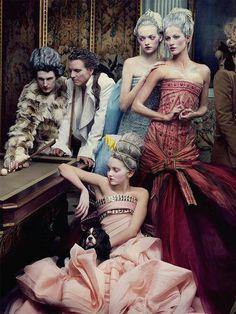 'French Twist' featuring Lily Cole, Gemma Ward, Gisele Bundchen, Jessica Stam, Karen Elson, Hugh Dancy photographed by Annie Leibovitz for Vogue US May 2004