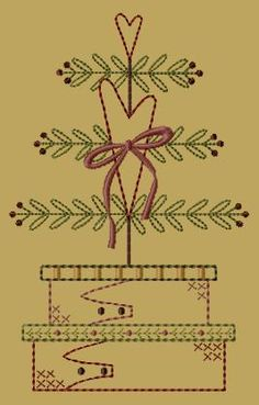 PK047 Little Heart Tree - 5x7 - $8.00 : Primitive Keepers, Prim Machine Embroidery Designs