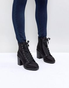 Miss Selfridge Lace Up Block Heel Ankle Boot