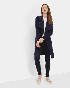 Bouclé wrap coat - Navy | Jackets & Coats | Ted Baker UK