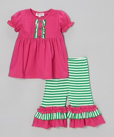 Loving this Whimsical by Molly Pop Inc. Pink Tunic & Green Stripe Capri Pants - Infant, Toddler & Girls on #zulily! #zulilyfinds