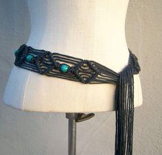 Vintage macrame belt // black hemp turquoise wood beads, long fringe by dahlilafound, $23.00