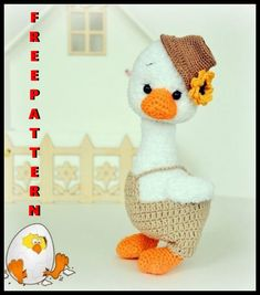 Amigurumi Goose Free Crochet Pattern Crochet Animal Amigurumi, Crochet Baby Toys, Crochet Amigurumi Free Patterns, Crochet Animal Patterns, Easter Crochet, Stuffed Animal Patterns, Crochet Dolls, Crochet Bunny, Free Crochet
