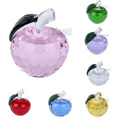 3D Crystal Faceted Apple Paperweight Wedding Gift Rainbow Maker Decorations 40MM #Magic