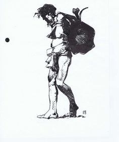 Jeffrey Jones ink drawing 'Bag O'Bones' Comic Art