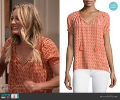 Penny's orange seahorse print top on The Big Bang Theory.  Outfit Details: https://wornontv.net/61612/ #TheBigBangTheory