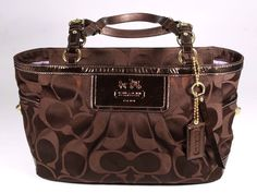 Coach Brown Metallic Patent Leather & Canvas Signature Gallery Tote Shoulder Bag #Coach #ToteSatchel