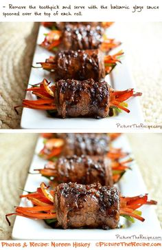 Balsamic Glazed Steak Rolls by PictureTheRecipe omg!!! This and so many other amazing recipes!!! This person is amazing!!