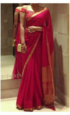 Silk Saree Blouse Designs, Fancy Blouse Designs, Blouse For Silk Saree, Sari Dress, Red Saree, Saris, Stylish Blouse Design, Latest Design Of Blouse, Sarees For Girls