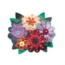 vintage felt flower brooch