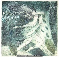 Metamorphoses A, collagraph print by Sarah Young of the UK.