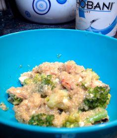 Creamy Quinoa Alfredo with Chicken & Broccoli ( #Healthy Alfredo sauce made with @Chobani non-fat, plain !!)