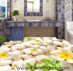 Plumeria White Stone Branch Leaves 00015 Floor Decals 3D Wallpaper Wall Mural Stickers Print Art Bathroom Decor Living Room Kitchen Waterproof Business Home Office Gift