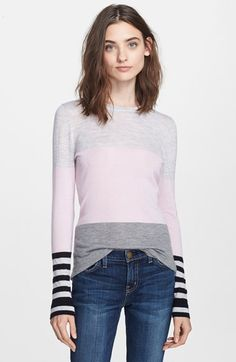 Free shipping and returns on autumn cashmere Colorblock Cashmere Crewneck Sweater at Nordstrom.com. Black-and-white stripe cuffs provide a playful punch of contrast for this featherweight cashmere pullover color-blocked in soft pastel hues.