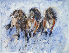 ARTFINDER: Yakutian Horses in the Snow Storm by Zaira Dzhaubaeva - The Yakutian horses are rare small native horse breed with thick mane and heavy hair coat. They are adapted to the snowy cold climate of Yakutia, Russia.  ...