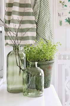Green glass and green linens