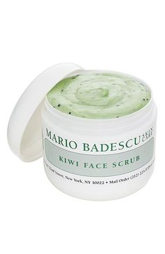 Mario Badescu Kiwi Face Scrub Naturally exfoliate dull, tired skin with a nourishing kiwi face scrub. Gently buffs away dead skin cells with non-irritating kiwi seeds and soft bits of mineral-rich seaweed to uncover a more radiant, smooth complexion