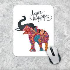 Quote Mousepad, I'm Happy Mouse Pad, Watercolor Mouse Mat, Elephant Mousepad, Custom Mousepad, Floral Mousepad, Inspirational Quote Mousepad