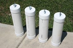 Tent or awning weights...used PVC pipe and caps and an eye bolt with a washer...filled with cement