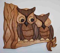 Intarsia owls by Brian Greiner