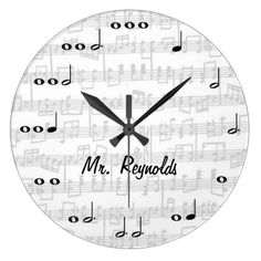 Black and White Music Note Personalized Wall Clock