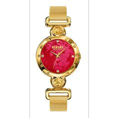 Versus By Versace Sunnyridge Quartz Stainless Steel Watch, Model:... ($108) ❤ liked on Polyvore featuring jewelry, watches, red, red watches, gold dial watches, stainless steel jewellery, red jewellery and water resistant watches