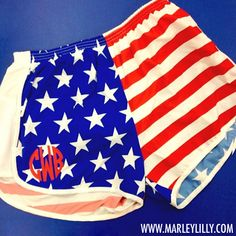 Monogrammed American Flag Running Athletic Shorts | Personalized Gym Wear | Marley Lilly