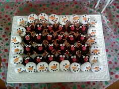 Snowman donuts and reindeer donuts made from powdered and chocolate mini donuts!