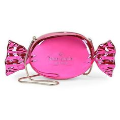 Kate Spade New York Do Wonders Candy Clutch ❤ liked on Polyvore featuring bags, handbags, clutches, pink metallic handbag, pink metallic purse, kate spade clutches, chain handbags and pink purse