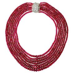 Art Deco Rare Natural Burma Ruby Seven Strand Bead Necklace 1 Ruby Necklace, Ruby Jewelry, Art Deco Jewelry, Modern Jewelry, Beaded Jewelry, Fine Jewelry, Beaded Necklaces, Bridal Jewellery, Jewlery