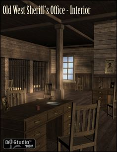 Old West Sheriffs Office Interior Building Model features a traditional old western look and includes jail cells and beds, funiture and other props. 3d Building Models, Old West Saloon, Old West Town, Wild West Theme, Sheriff Office, Doctor Office, Western Theme, Maine House, Office Interiors