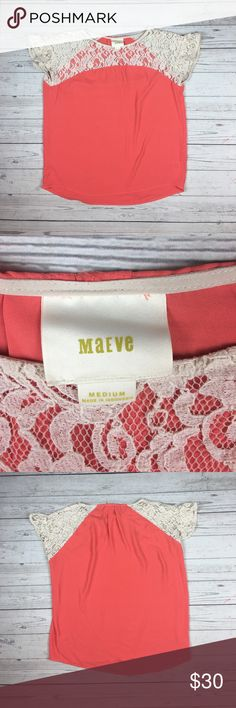 Maeve Anthropologie Coral Lace Penumbra Top Perfect Condition, Beautiful coral color with cream colored lace, Width 23'' Length 26'' Anthropologie Tops Blouses