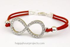Easy Leather Infinity Bracelet at www.happyhourprojects.com