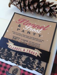 Plaid or Flannel Invitation // Flannel and Frost Invitation Set// Holiday Party Invite // Woodsy Invitation