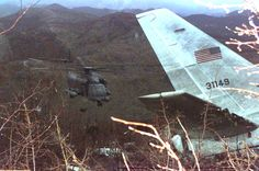 In Croatia a U.S. Air Force MH-53J Pave helicopter hovers near wreckage of the crashed US Air Force plane [1524  1012 ] April 4 1996