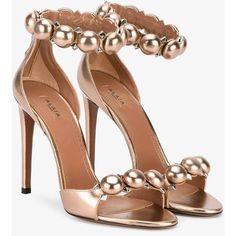 Alaïa Alaïa Studded Sandals ($1,042) ❤ liked on Polyvore featuring shoes, sandals, heels, stilettos shoes, ankle tie sandals, ankle strap shoes, open toe shoes and heels stilettos
