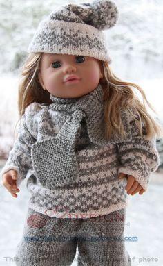 Strikkeoppskrift Baby born dukkeklær Baby Knitting Patterns, Baby Patterns, Girl Dolls, Baby Dolls, Baby Born, 18 Inch Doll, Barbie, Doll Clothes, Winter Hats