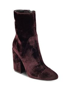Kendall and Kylie Brooke Velvet Block Heel Booties | Bloomingdale's