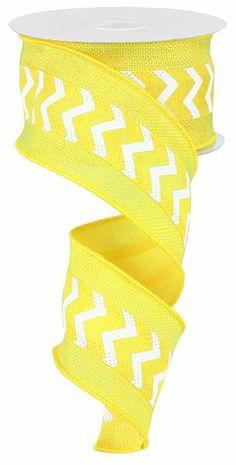 2.5 Inch Yellow White Mini Chevron W/ Cross by wreathsbyrobin