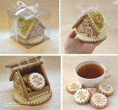 Super cute gift idea for someone really special -- cookie house with cookies and tasty tea packet inside. Fancy Cookies, Xmas Cookies, Iced Cookies, Cute Cookies, Cookies Et Biscuits, Cupcake Cookies, Gingerbread Cookies, Cupcakes, Christmas Cooking