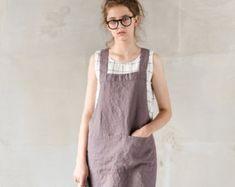 Short square cross linen apron/ japanese style by notPERFECTLINEN