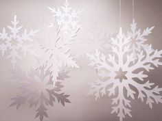 11 White Shimmer Cut Paper Snowflakes  winter wedding by ccartsy, $6.75