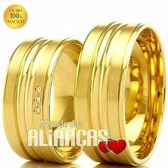 Aliança de luxo em ouro 18K