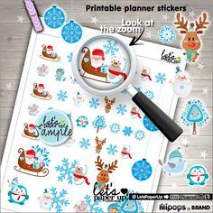 Christmas Stickers, Printable Planner Stickers, Kawaii Stickers, Planner Accessories, Santa Stickers, Seasonal Stickers, Winter Stickers